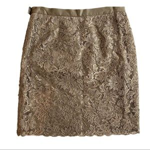 ESCADA Taupe A-Line Lace Cut Out Pencil Skirt 42